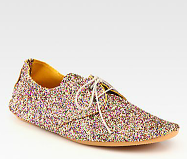 Anniel Glitter-Coated Canvas Oxfords