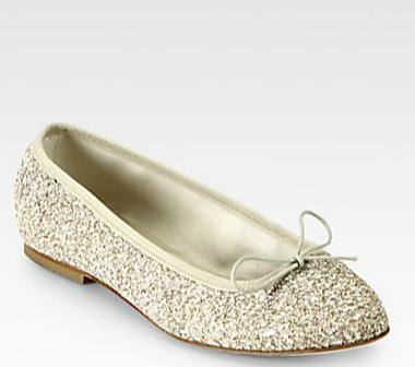 Anniel Glitter Bow Ballet Flats