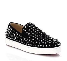 Christian Louboutin: Roller Flat Studded Suede Slip-On Sneakers
