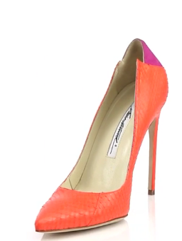Brian Atwood's Mercury Suede-Paneled Watersnake Pumps